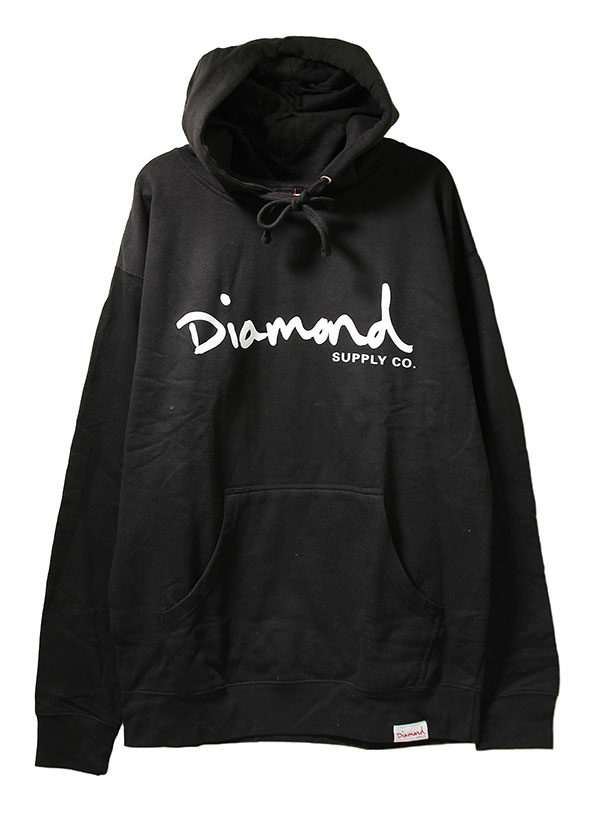 Diamond Supply(ダイヤモンドサプライ)パーカー プルオーバー OG Script Hoodie Black スケボー SKATE SK8 スケートボード HARD CORE PUNK ハードコア パンク HIPHOP ヒップホップ SURF サーフ レゲエ reggae スノボー スノーボード Snowboard NINJA X