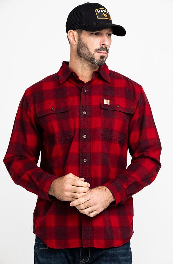 Carhartt(カーハート)ネルシャツ Hubbard Plaid Flannel Shirt Red(チェック柄)US企画 スケボー SKATE SK8 スケートボード アウトドア OUTDOOR WORK ワーク パンク HIPHOP ヒップホップ SURF サーフ レゲエ reggae スノボー スノーボード