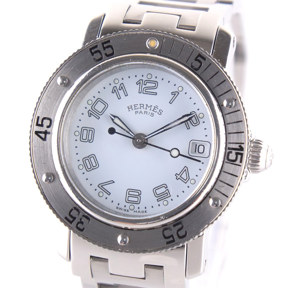 【HERMES】エルメス クリッパーダイバー CL5.210 ステンレススチール シルバー クオーツ レディース 水色文字盤 腕時計【中古】