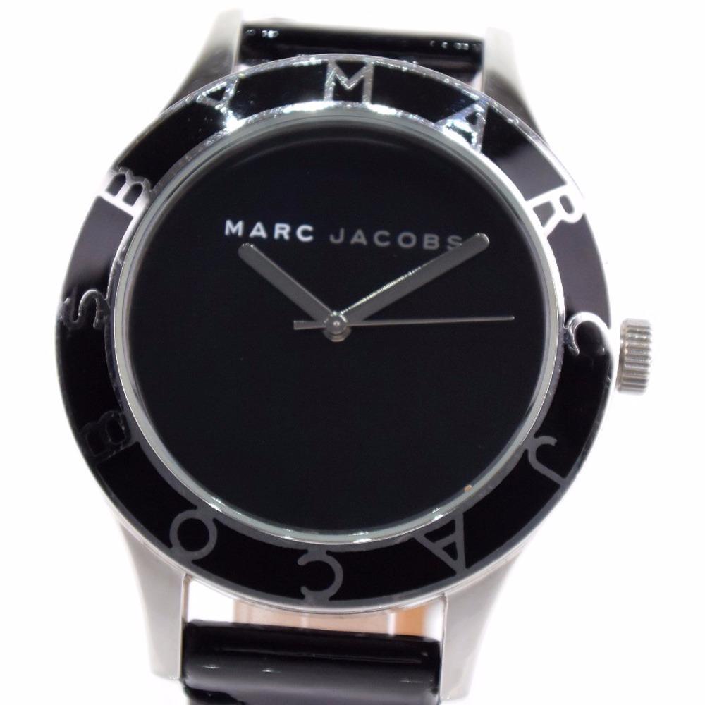 【MARC BY MARC JACOBS】マークバイマークジェイコブス MBM1087 ステンレススチール×パテントレザー シルバー クオーツ ユニセックス 黒文字盤 腕時計【中古】A-ランク