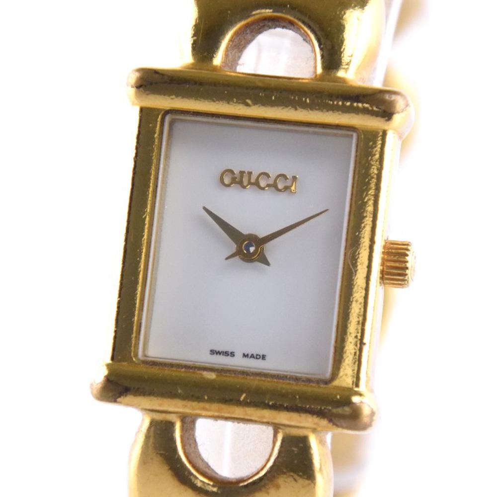 【GUCCI】グッチ 替えベルト 1800L ステンレススチール ゴールド クオーツ レディース 白文字盤 腕時計【中古】