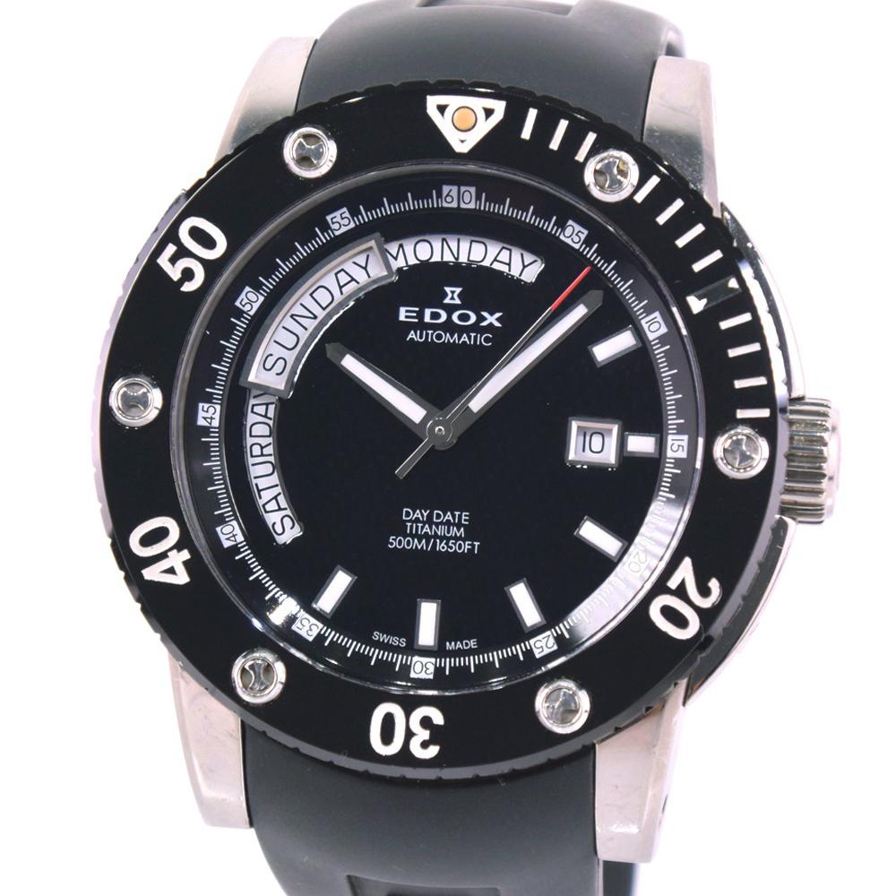 【EDOX】エドックス クラスワン デイデイト500M 83005 チタン×ラバー シルバー 自動巻き メンズ 黒文字盤 腕時計【中古】