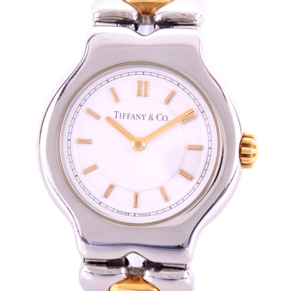 【TIFFANY&Co.】ティファニー ティソロ L0112 ステンレススチール ゴールド クオーツ レディース 白文字盤 腕時計【中古】A-ランク