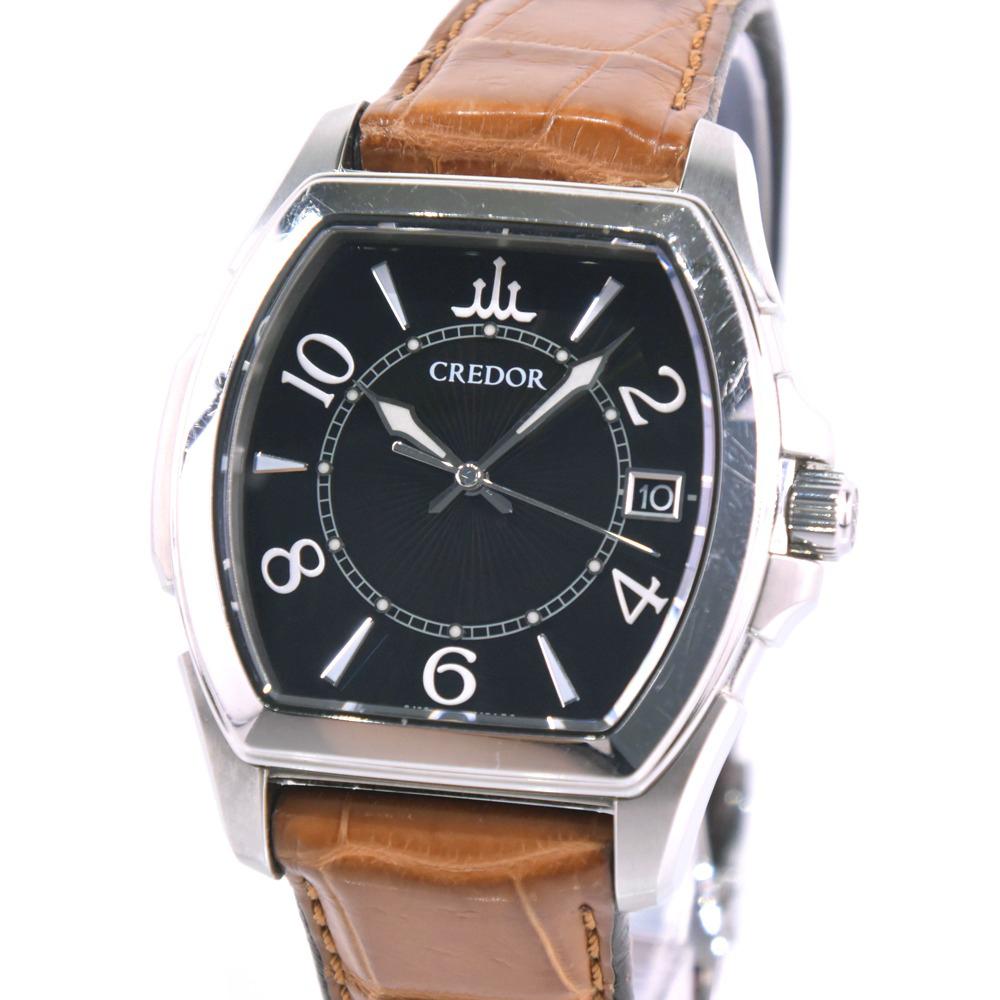 【SEIKO】セイコー クレドール シグノパシフィーク 8J82-0AC0 ステンレススチール×レザー シルバー クオーツ メンズ 黒文字盤 腕時計【中古】A-ランク