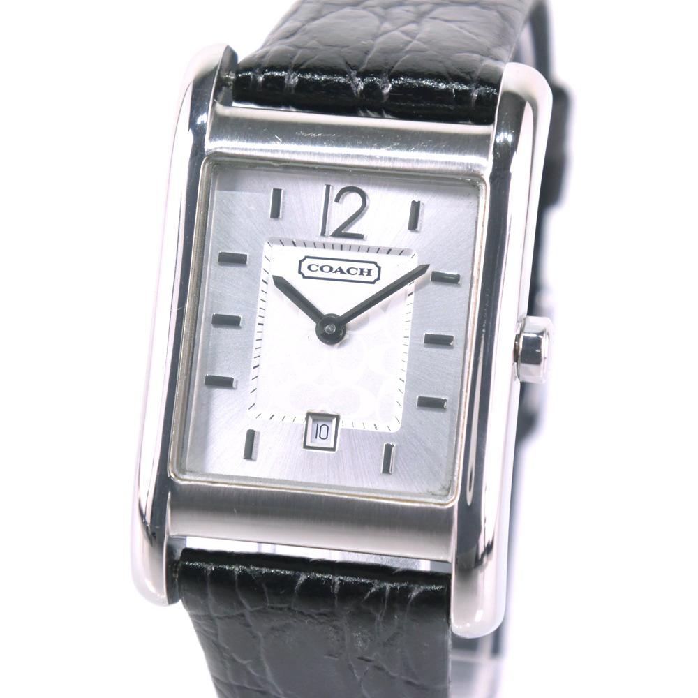 【COACH】コーチ シグネチャー CA.57.7.14.0547 ステンレススチール ブラック クオーツ ボーイズ シルバー文字盤 腕時計【中古】A-ランク