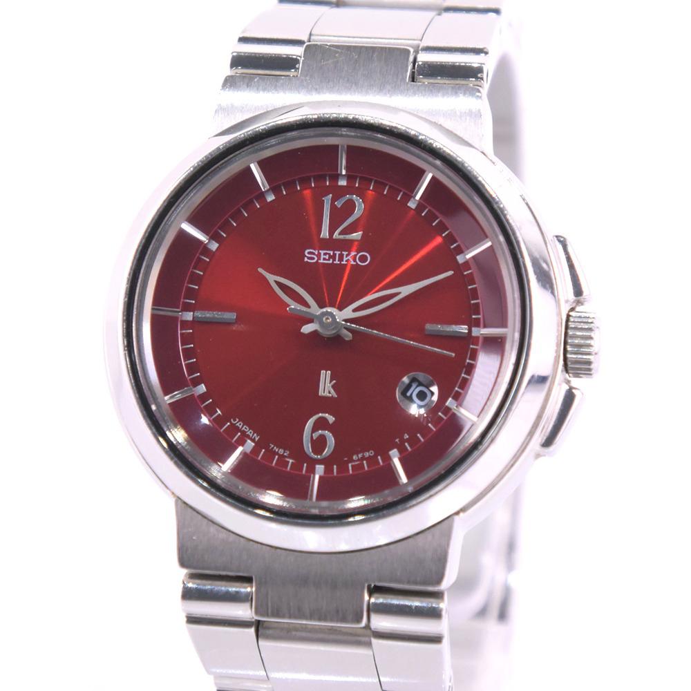 【SEIKO】セイコー ルキア 7N82-6E00 ステンレススチール シルバー クオーツ レディース ワインレッド文字盤 腕時計【中古】