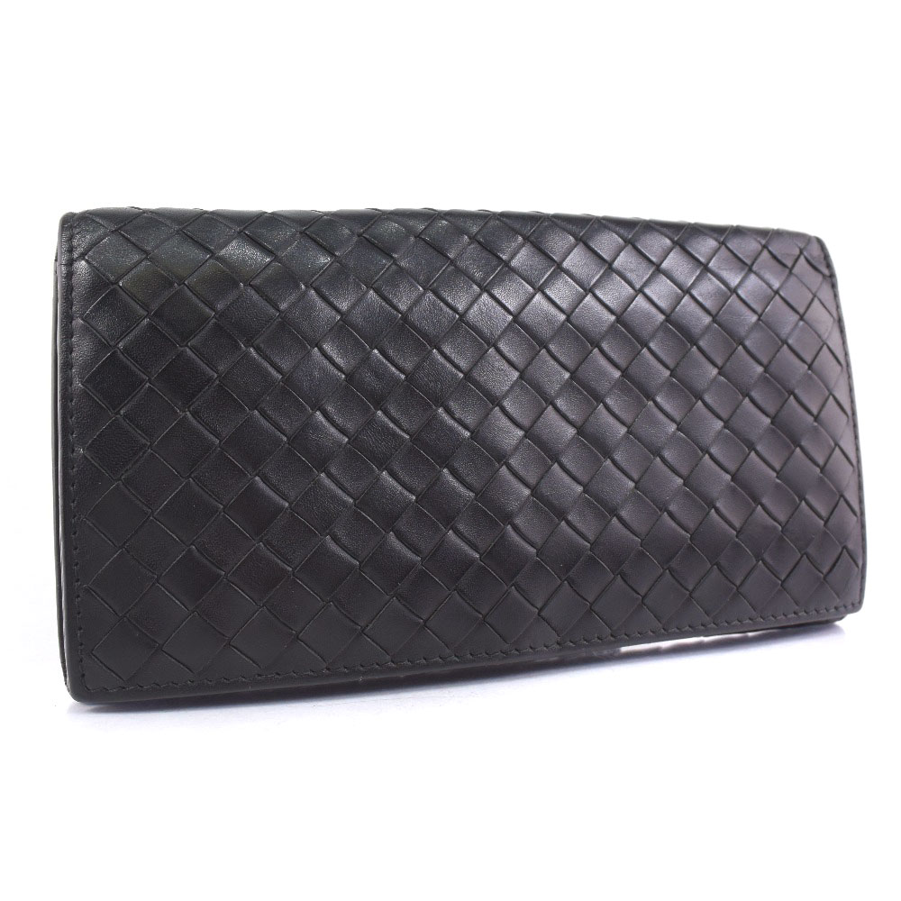 【BOTTEGAVENETA】ボッテガヴェネタ 二つ折り財布 レザー 黒 メンズ 長財布【中古】