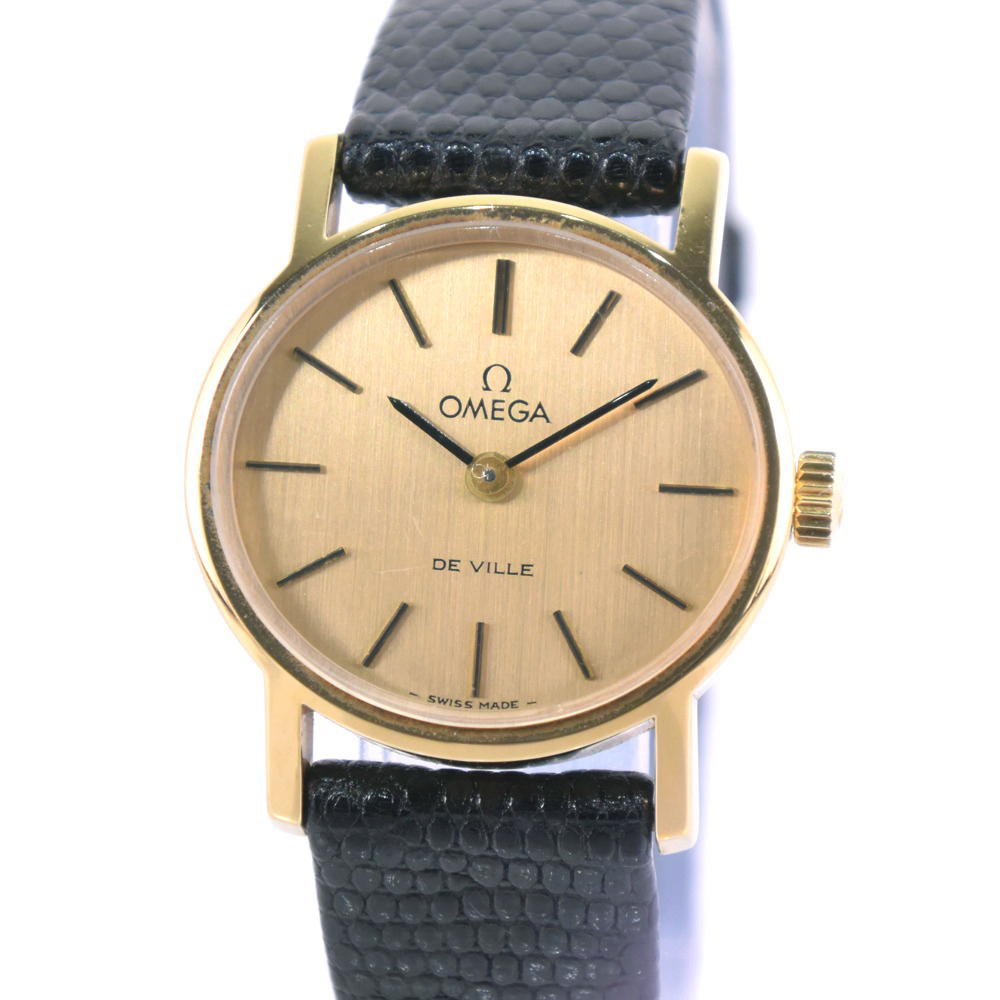 【OMEGA】オメガ cal.39 540528 GP×レザー 黒 手巻き レディース ゴールド文字盤 腕時計【中古】A-ランク