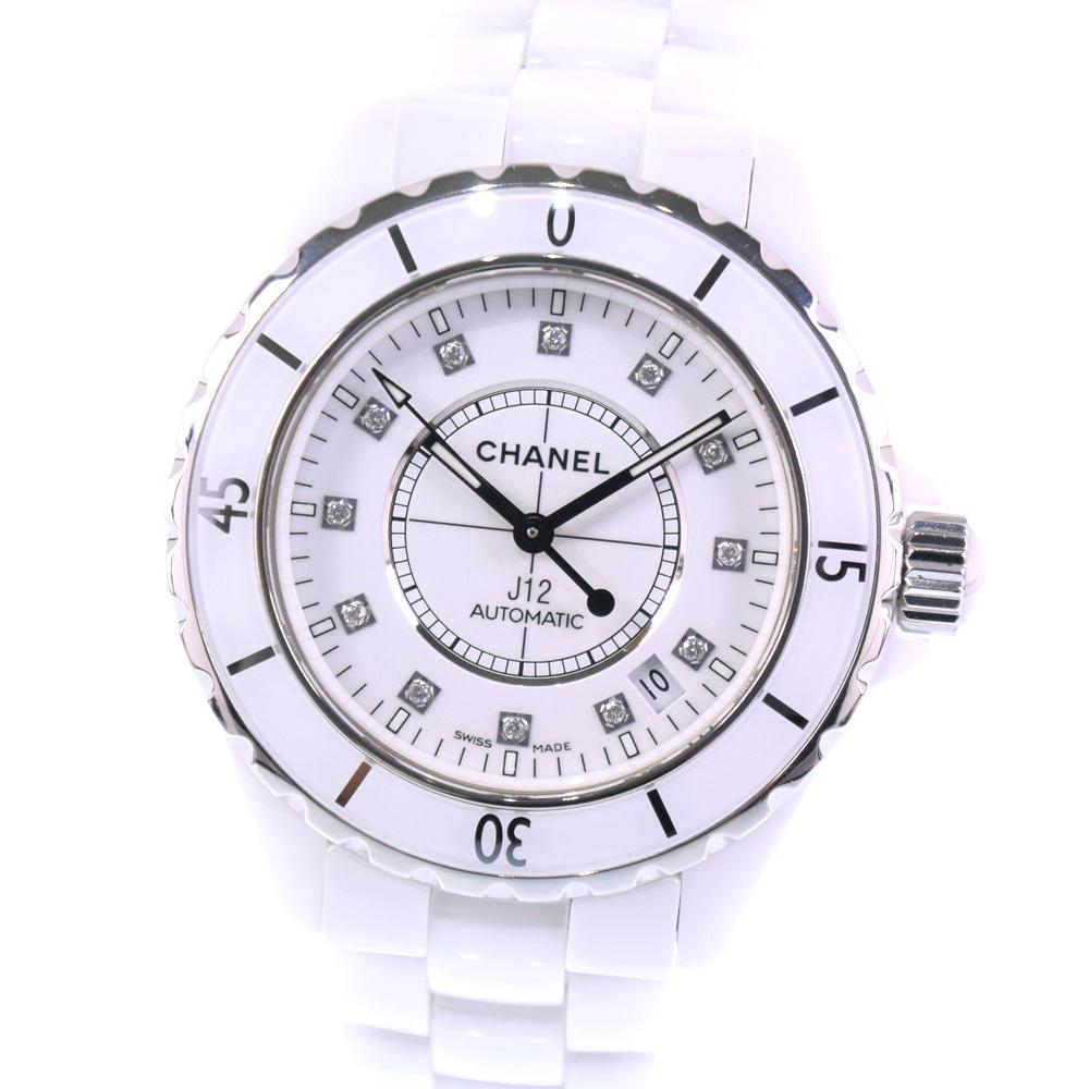 【CHANEL】シャネル J12 12Pダイヤ H1628 ホワイトセラミック 白 自動巻き メンズ 白文字盤 腕時計【中古】Aランク