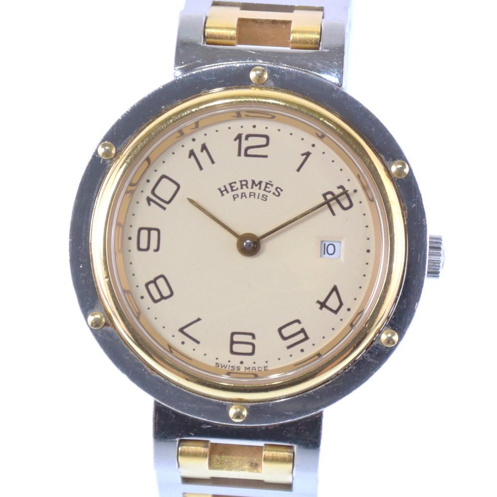 【HERMES】エルメス クリッパー ステンレススチール×GP ゴールド クオーツ ボーイズ アイボリー文字盤 腕時計【中古】