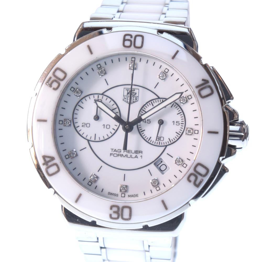【TAG HEUER】タグホイヤー フォーミュラ1 12Pダイヤ クロノグラフ CAH1211.BA0863 ステンレススチール×ホワイトセラミック シルバー クオーツ メンズ 白文字盤 腕時計【中古】A-ランク