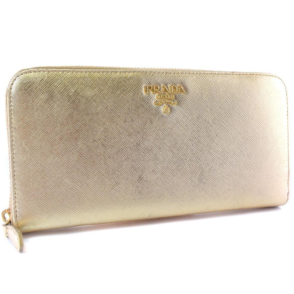 62e76973f5e1 Prada round fastener SAFFIANO METAL 1ML506 leather X サフィアーノメタル PLATINO gold  Lady's long wallet