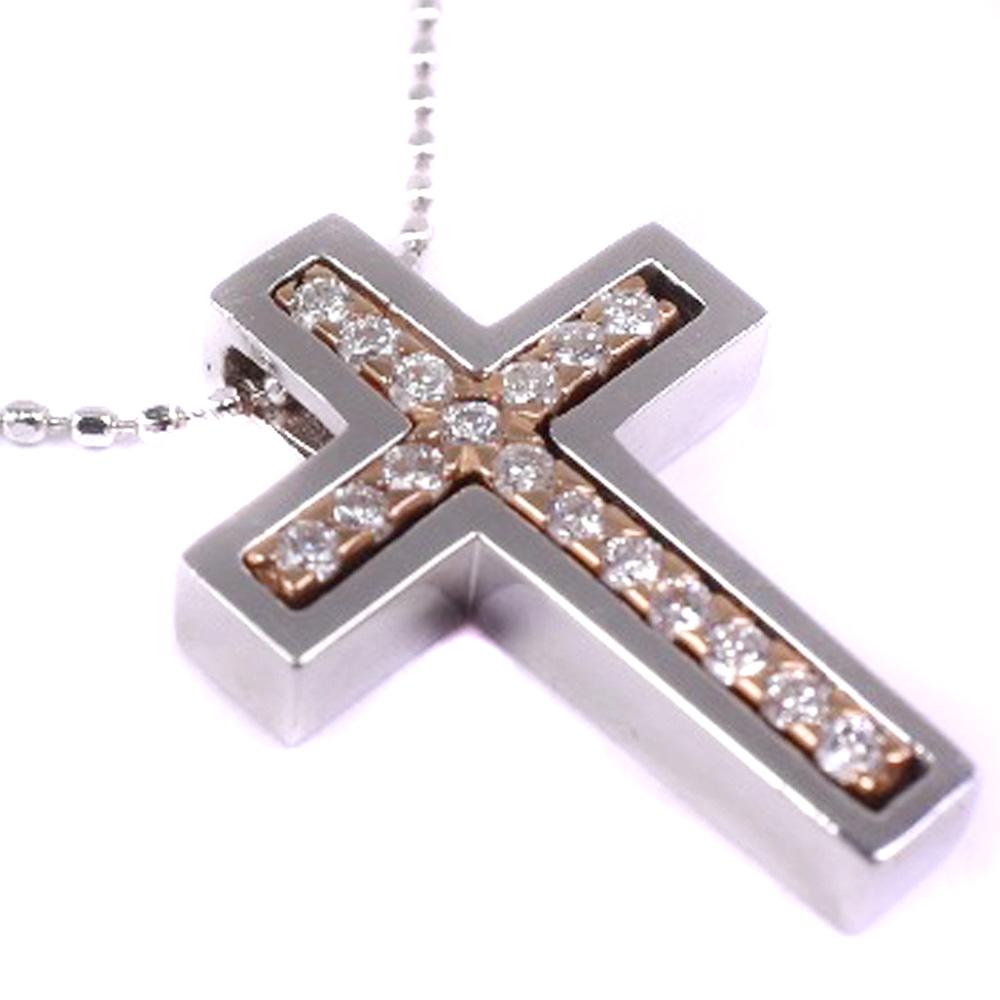 ★クロス 十字架 K18ホワイトゴールド ユニセックス ネックレス【中古】A+ランク