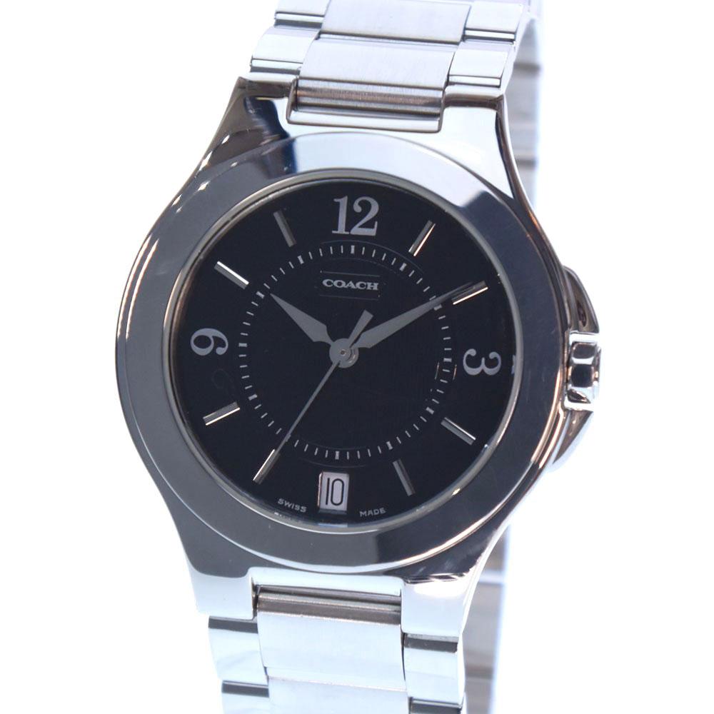 【COACH】コーチ 7.148.945 ステンレススチール シルバー クオーツ レディース 黒文字盤 腕時計【中古】