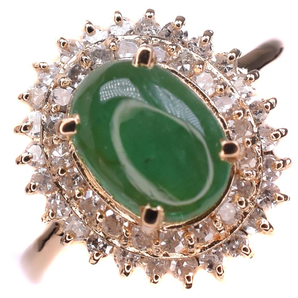 エメラルド ダイヤ K18イエローゴールド 11号 緑 レディース リング・指輪【中古】SAランク
