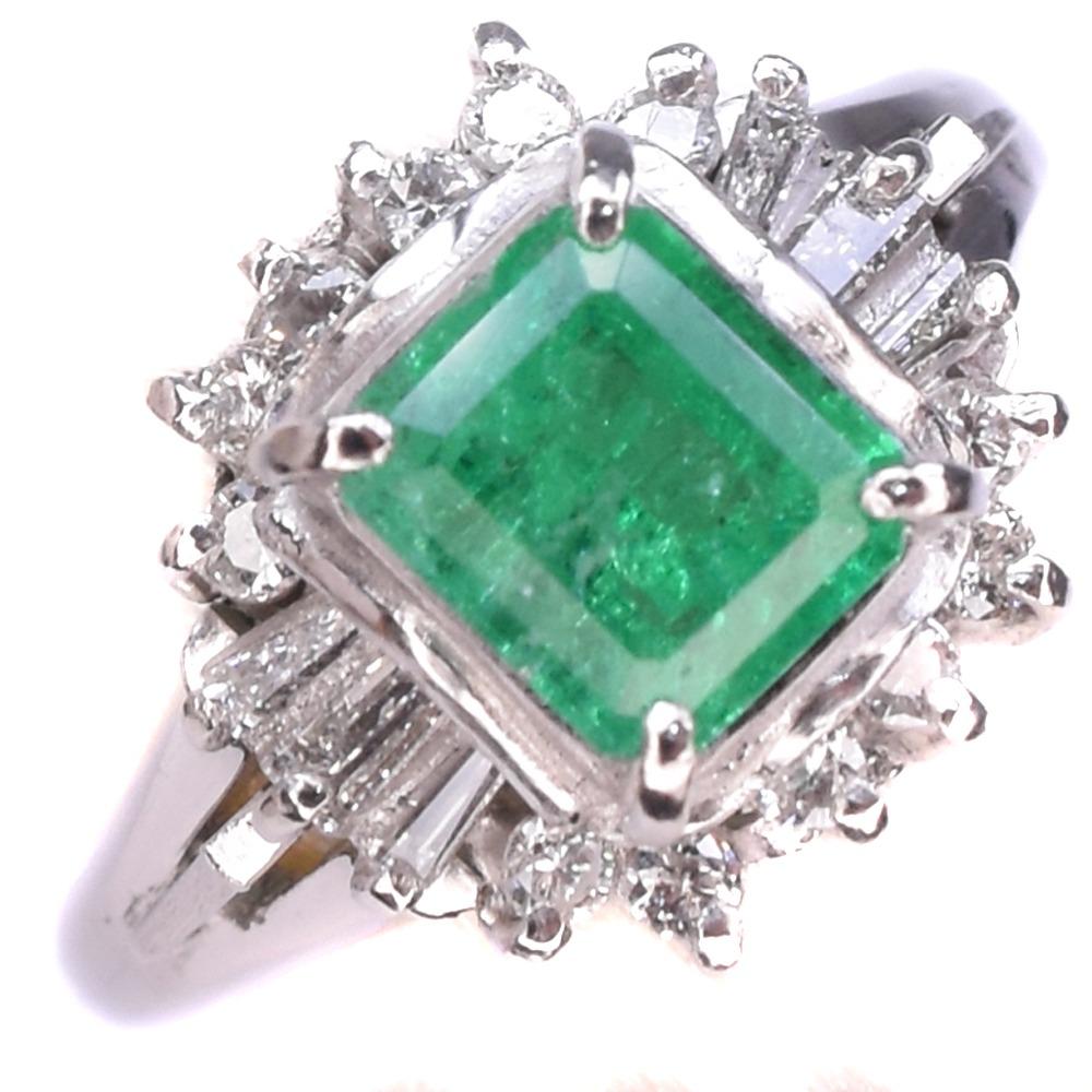 エメラルド×ダイヤモンド×Pt900プラチナ 13号 緑 レディース リング・指輪【中古】A+ランク