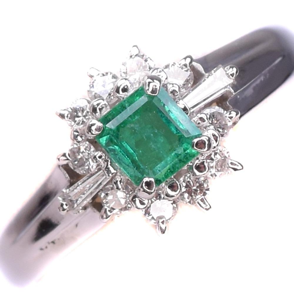 エメラルド ダイヤ Pt900プラチナ 12.5号 緑 レディース リング・指輪【中古】SAランク