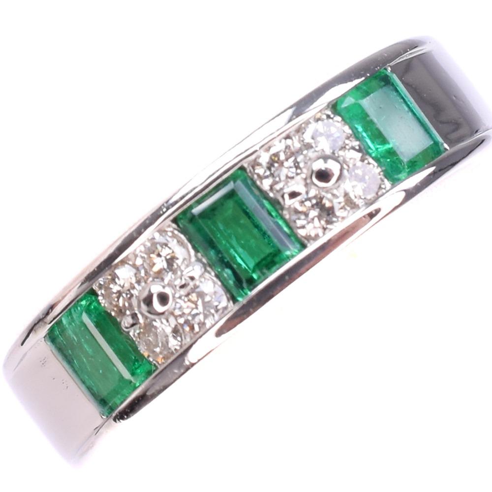 エメラルド ダイヤ Pt900プラチナ 13号 緑 レディース リング・指輪【中古】SAランク