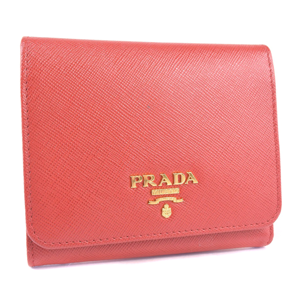 【PRADA】プラダ サフィアーノ レザー 赤 レディース 二つ折り財布【中古】Aランク