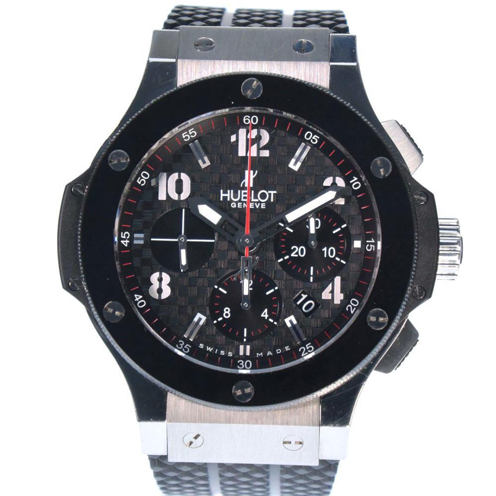 【HUBLOT】ウブロ ビッグバン 301.SB.131.RX ステンレススチール×セラミック×ラバー 黒 自動巻き メンズ ブラックカーボンプリント文字盤 腕時計【中古】A+ランク