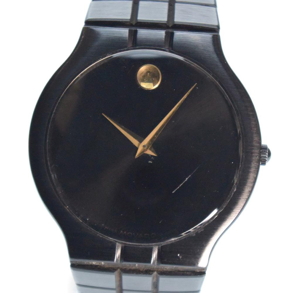 【Movado】モバード 84-41-860 ステンレススチール ブラック クオーツ メンズ 腕時計【中古】