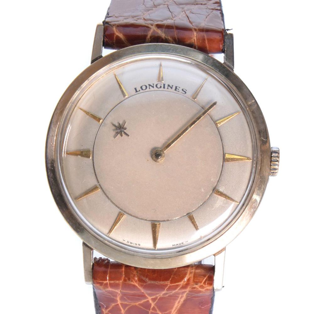 【LONGINES】ロンジン アンティーク GP×レザー ゴールド 手巻き メンズ ゴールド文字盤 腕時計【中古】