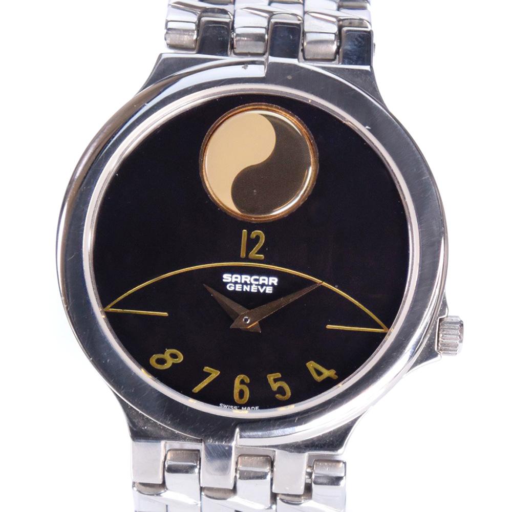 【SARCAR】サーカー 52818-166 ステンレススチール シルバー クオーツ メンズ ブラック文字盤 腕時計【中古】A-ランク