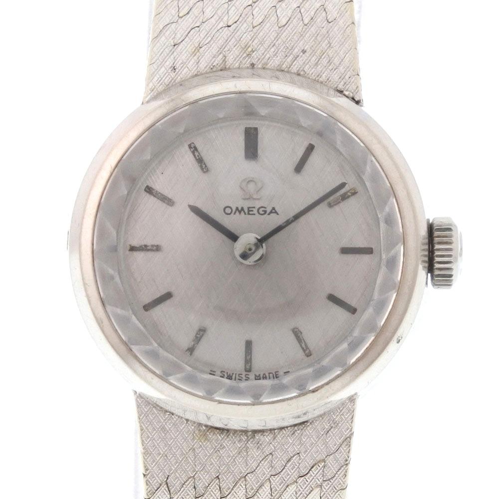 【OMEGA】オメガ アンティーク K18ホワイトゴールド シルバー 手巻き レディース シルバー文字盤 腕時計【中古】A-ランク