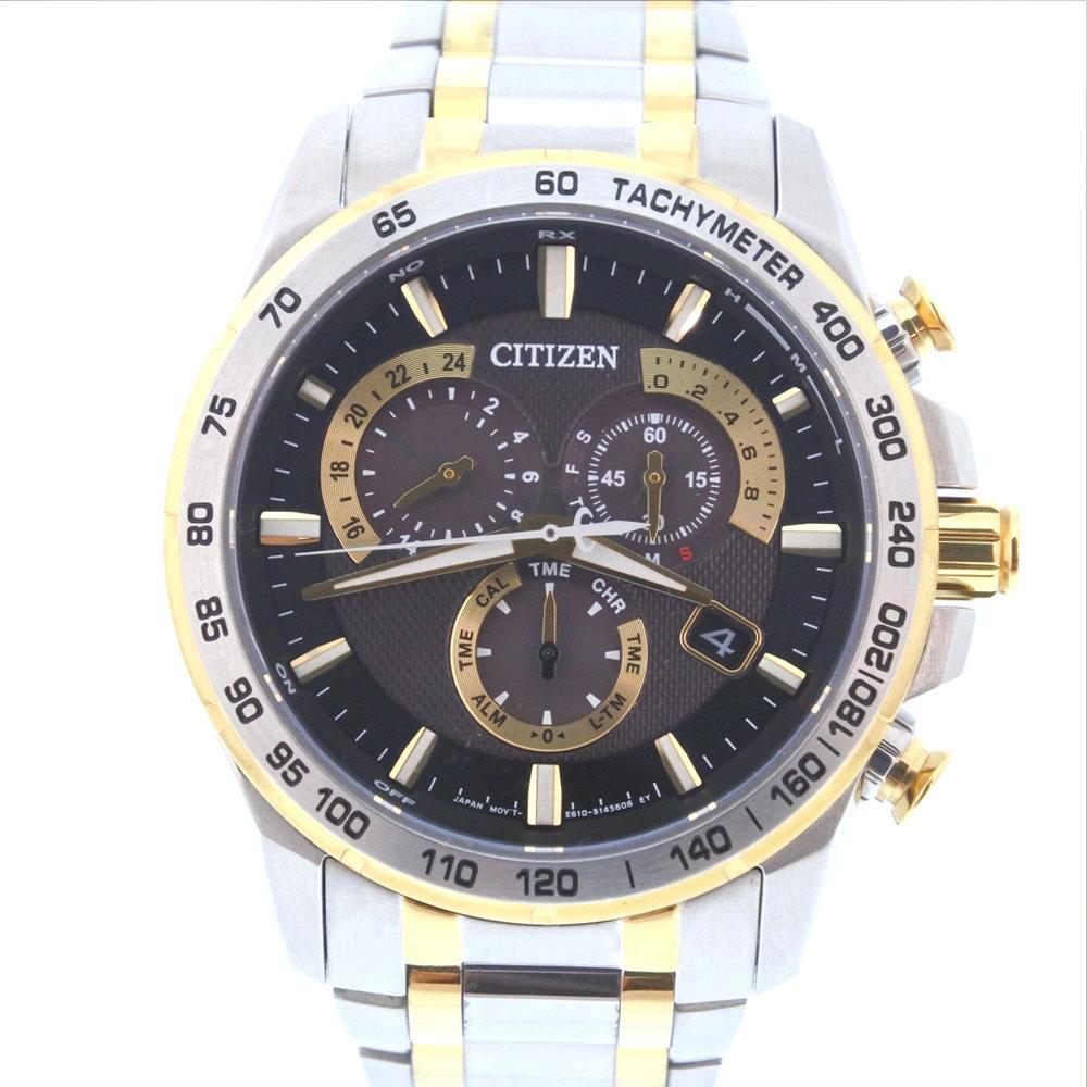 【CITIZEN】シチズン ラジオコントロール エコドライブ E610-S104840 ステンレススチール ゴールド ソーラー電波時計 メンズ 黒文字盤 腕時計【中古】Aランク