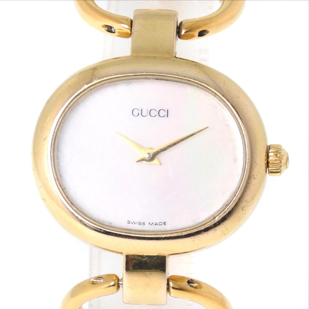 【GUCCI】グッチ 1600 GP ゴールド クオーツ レディース シェル文字盤 腕時計【中古】A-ランク