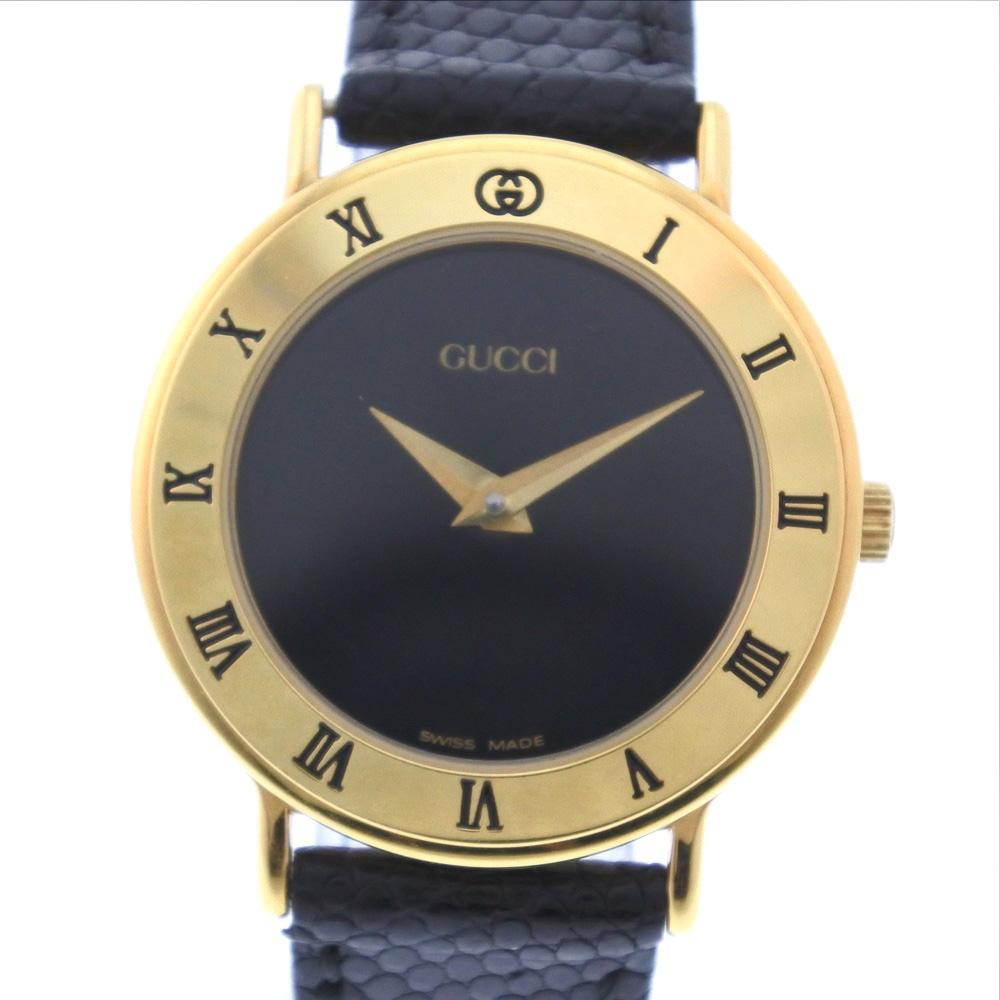 【GUCCI】グッチ 3000.2.L GP×レザー ゴールド クオーツ レディース 黒文字盤 腕時計【中古】Aランク