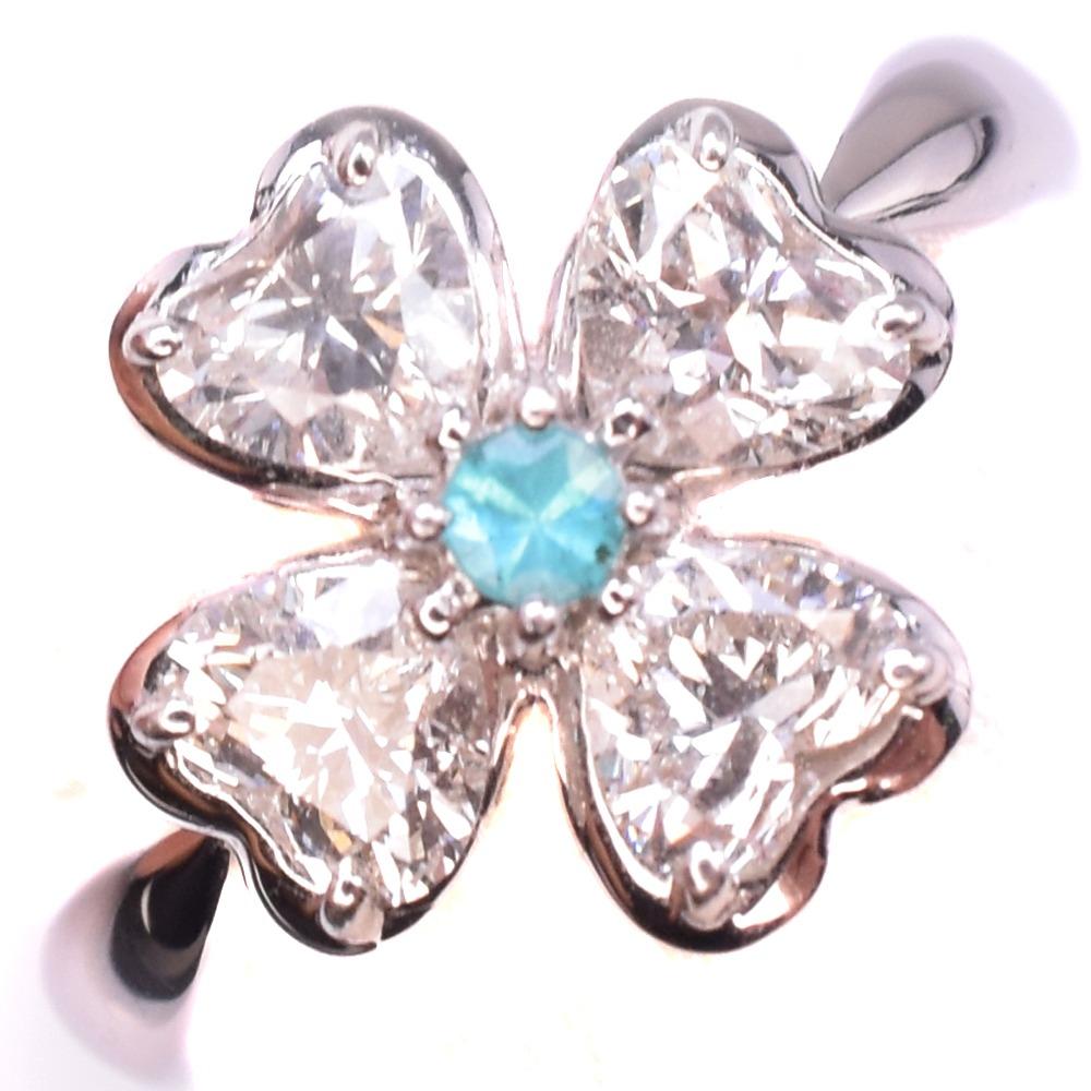 パライバ/ダイヤモンド Pt900プラチナ×トルマリン 11号 1.06/0.05 レディース リング・指輪【中古】A-ランク