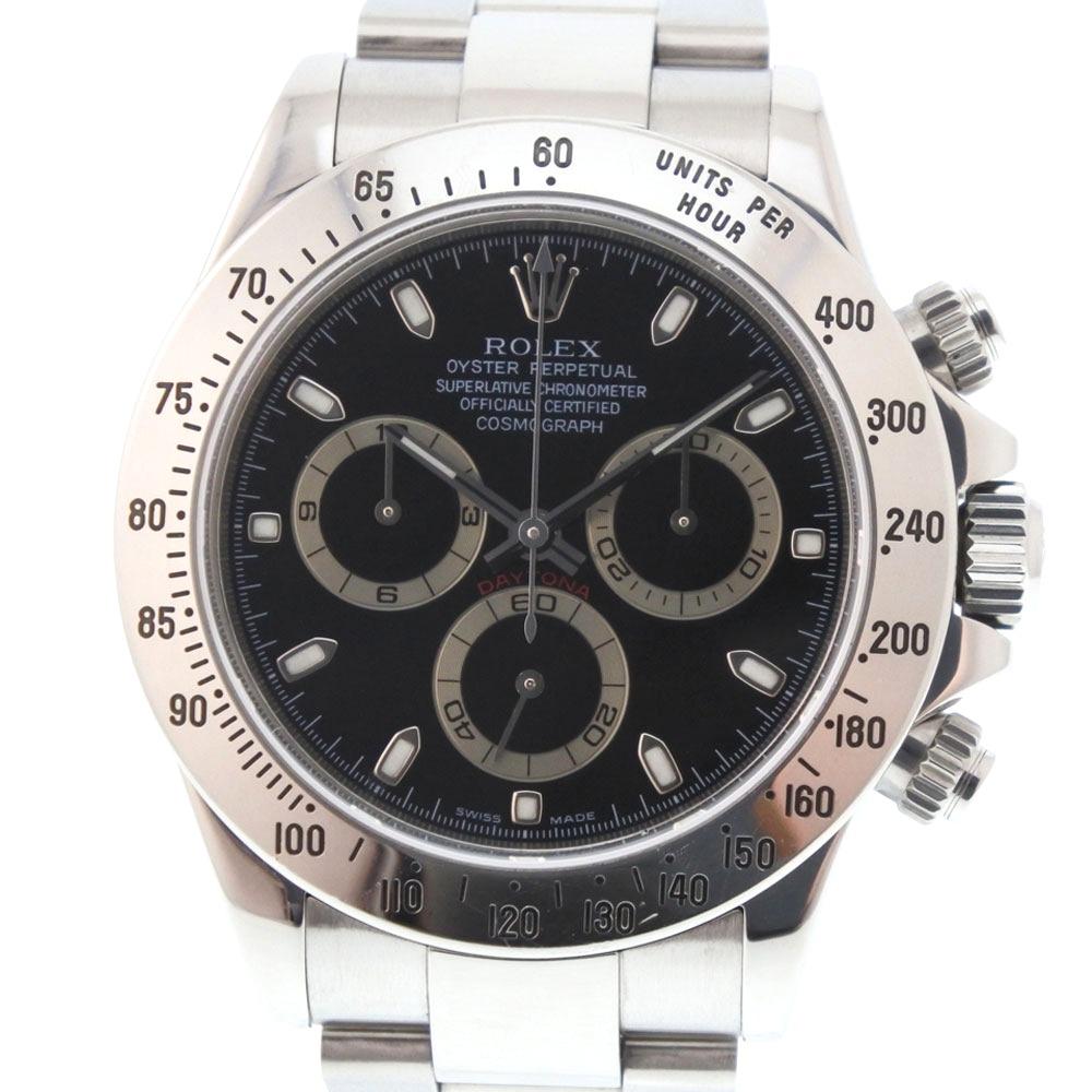 【ROLEX】ロレックス コスモグラフ デイトナ F番 116520 ステンレススチール シルバー 自動巻き メンズ 黒文字盤 腕時計【中古】A+ランク