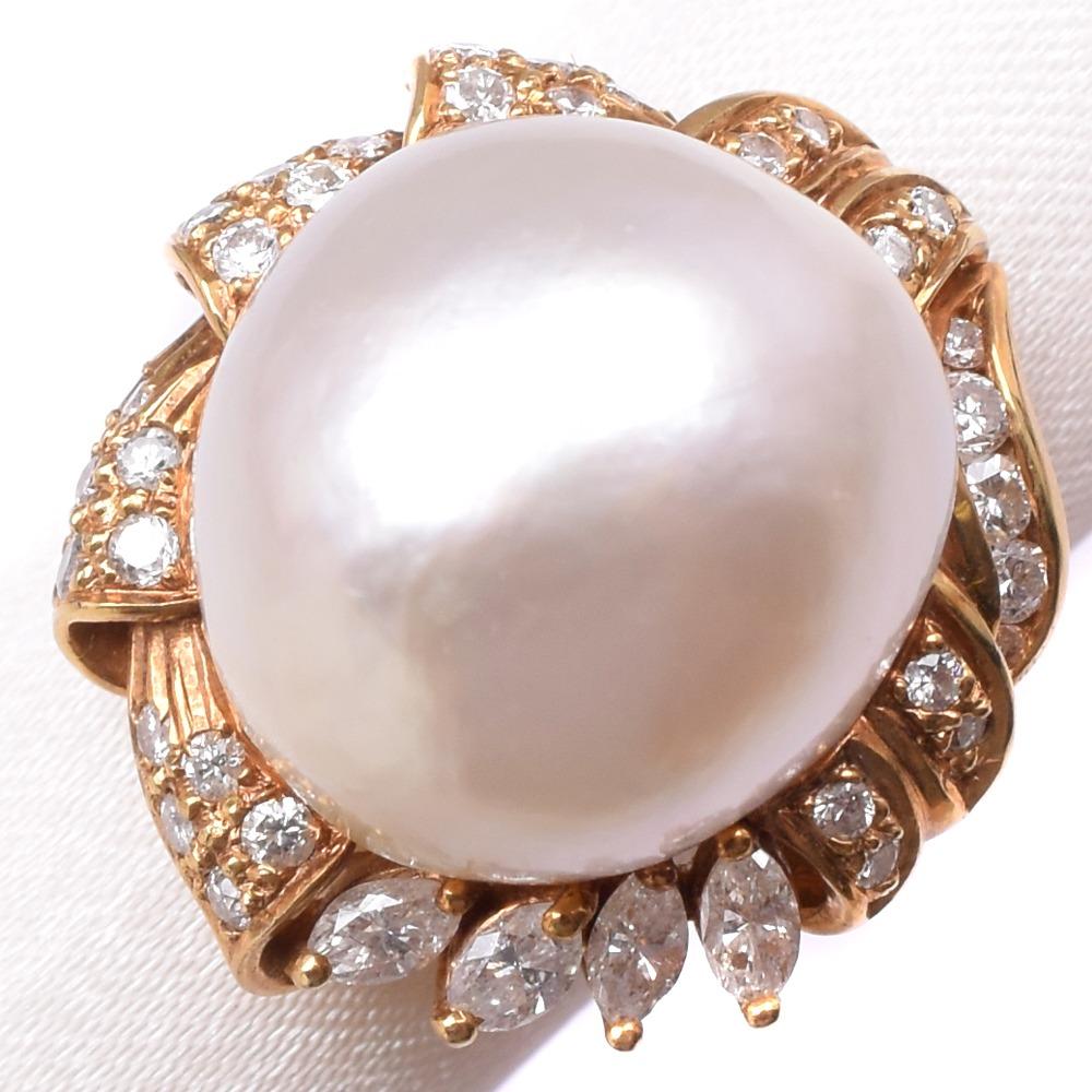パール ダイヤモンド 13号 K18イエローゴールド×真珠 13号 レディース リング・指輪【中古】Aランク