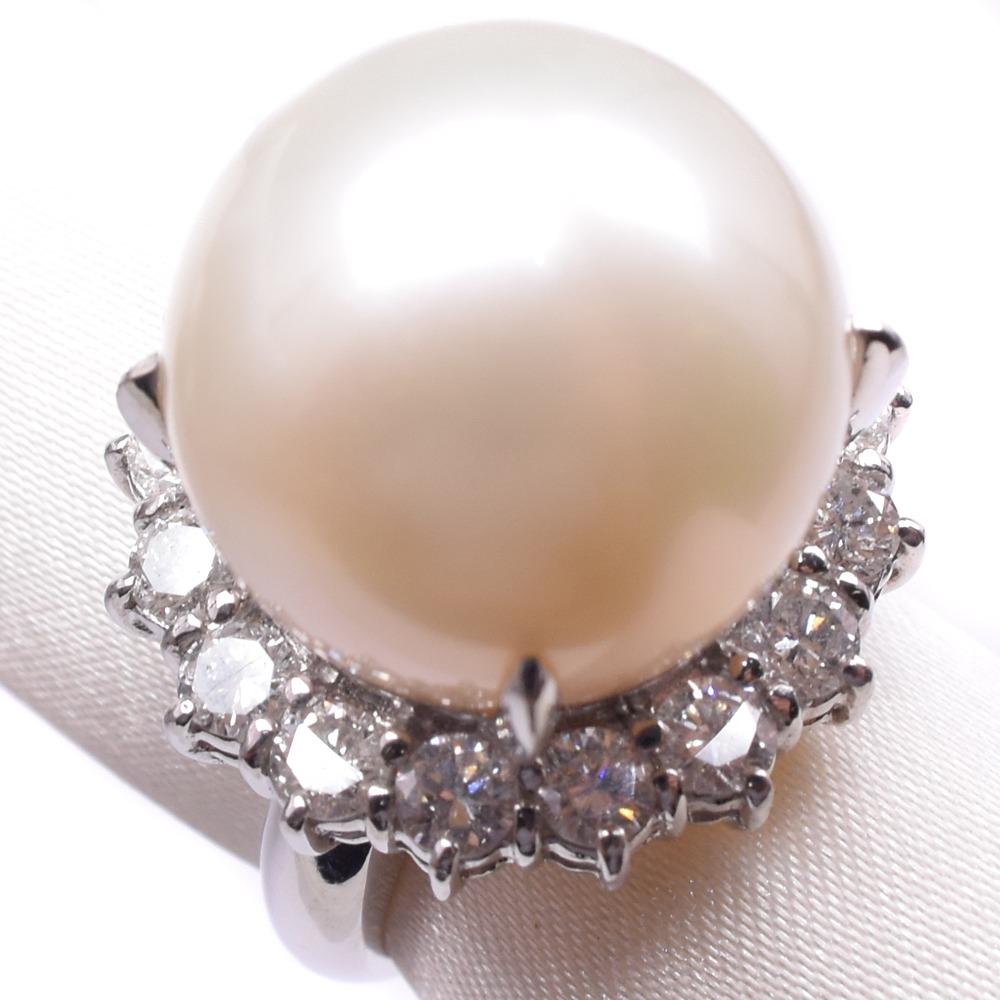 ダイヤモンド Pt900プラチナ×真珠 11.5号 レディース リング・指輪【中古】SAランク