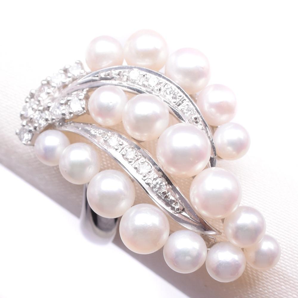 パール ダイヤモンド Pt900プラチナ×真珠 17号 レディース リング・指輪【中古】A-ランク