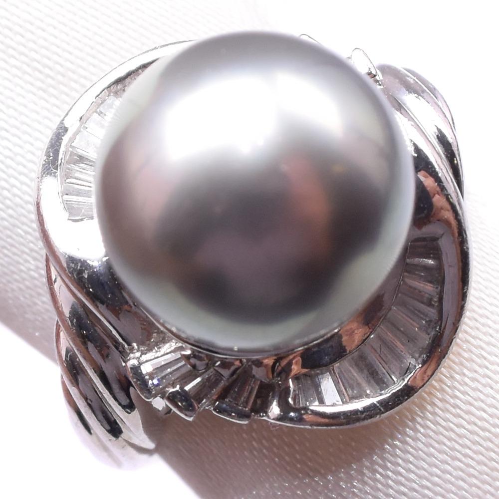 ダイヤモンド Pt900プラチナ×ブラックパール(黒蝶真珠) 10号 レディース リング・指輪【中古】SAランク