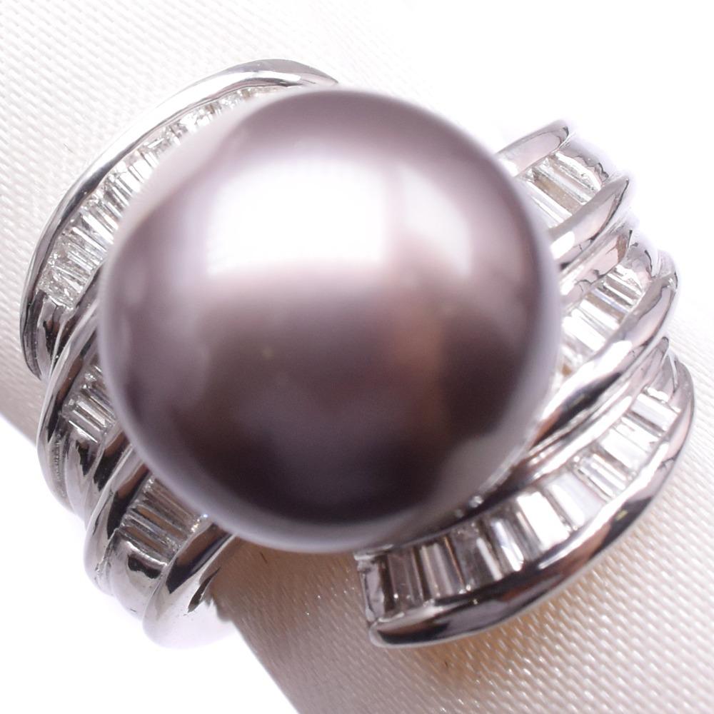 ダイヤモンド Pt900プラチナ×ブラックパール(黒蝶真珠) 11号 レディース リング・指輪【中古】Aランク
