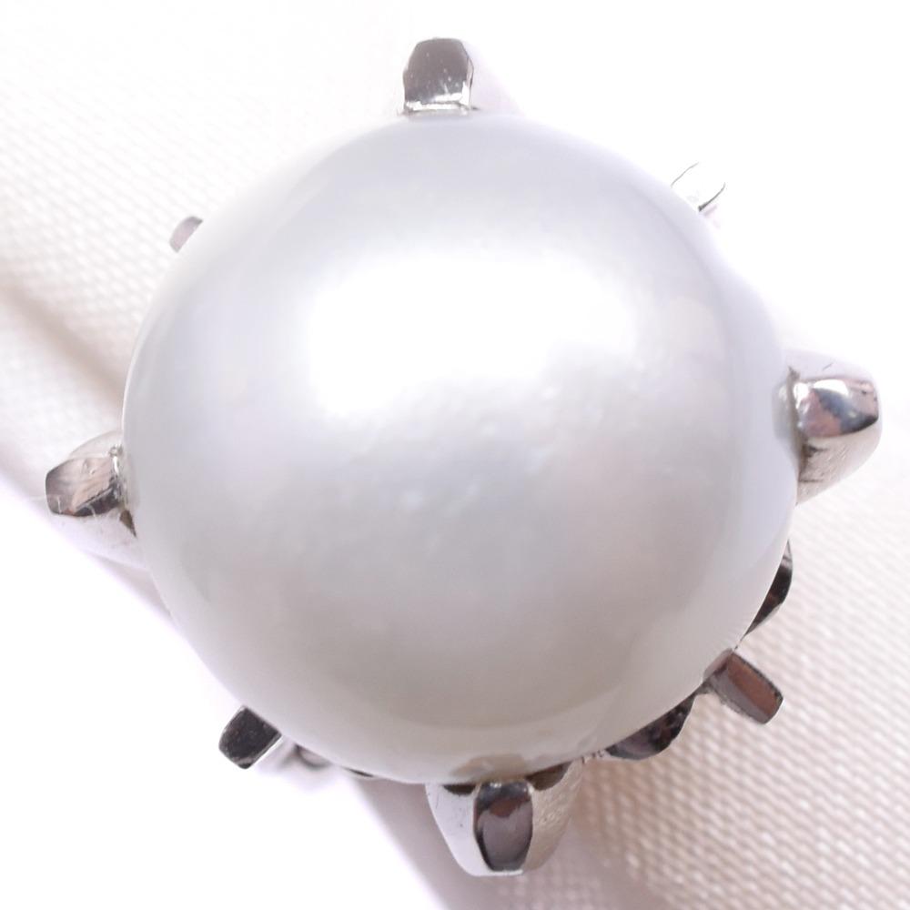 パール Pt900プラチナ×真珠 9号 レディース リング・指輪【中古】A-ランク