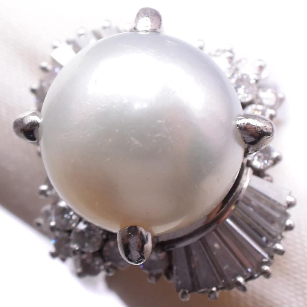 パール ダイヤモンド Pt900プラチナ×真珠 11号 レディース リング・指輪【中古】A-ランク