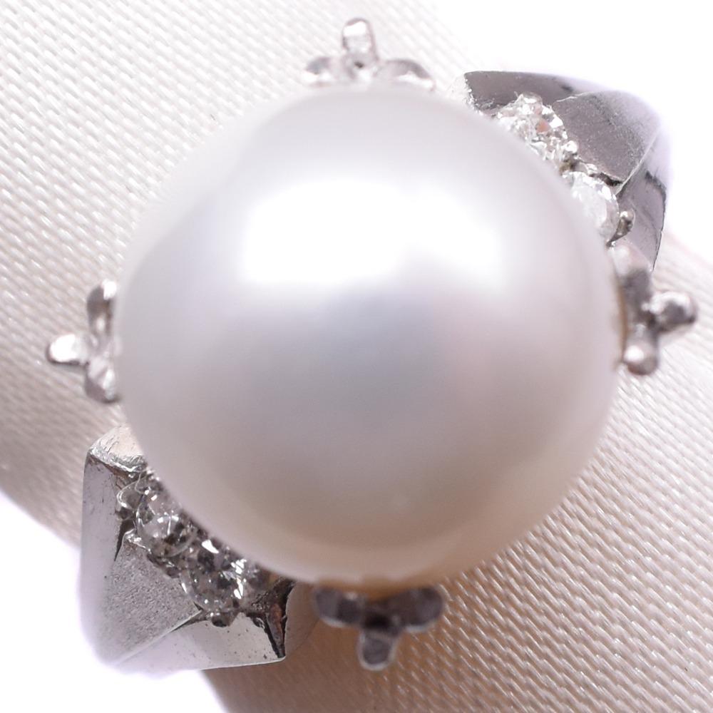 パール ダイヤモンド Pt850プラチナ×真珠 12号 レディース リング・指輪【中古】A-ランク