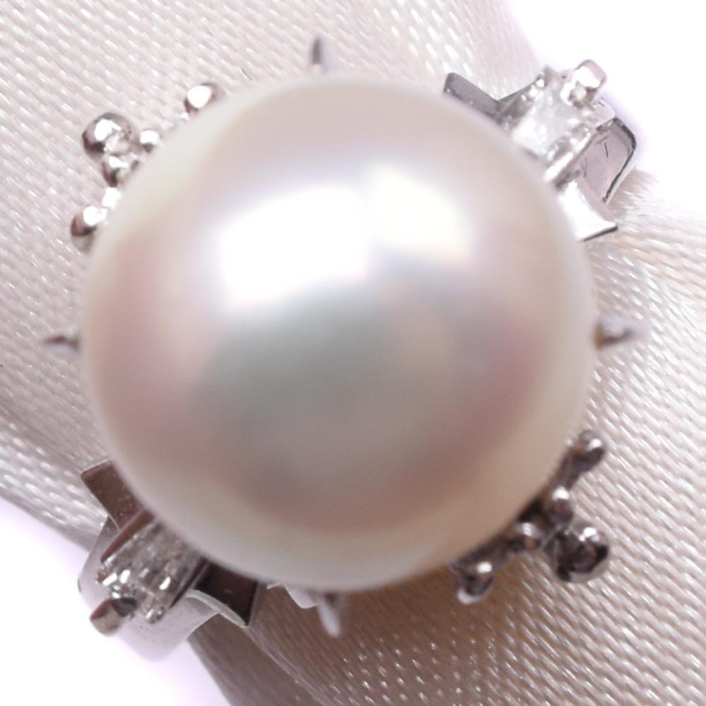 パール ダイヤモンド Pt900プラチナ×真珠 7号 レディース リング・指輪【中古】SAランク