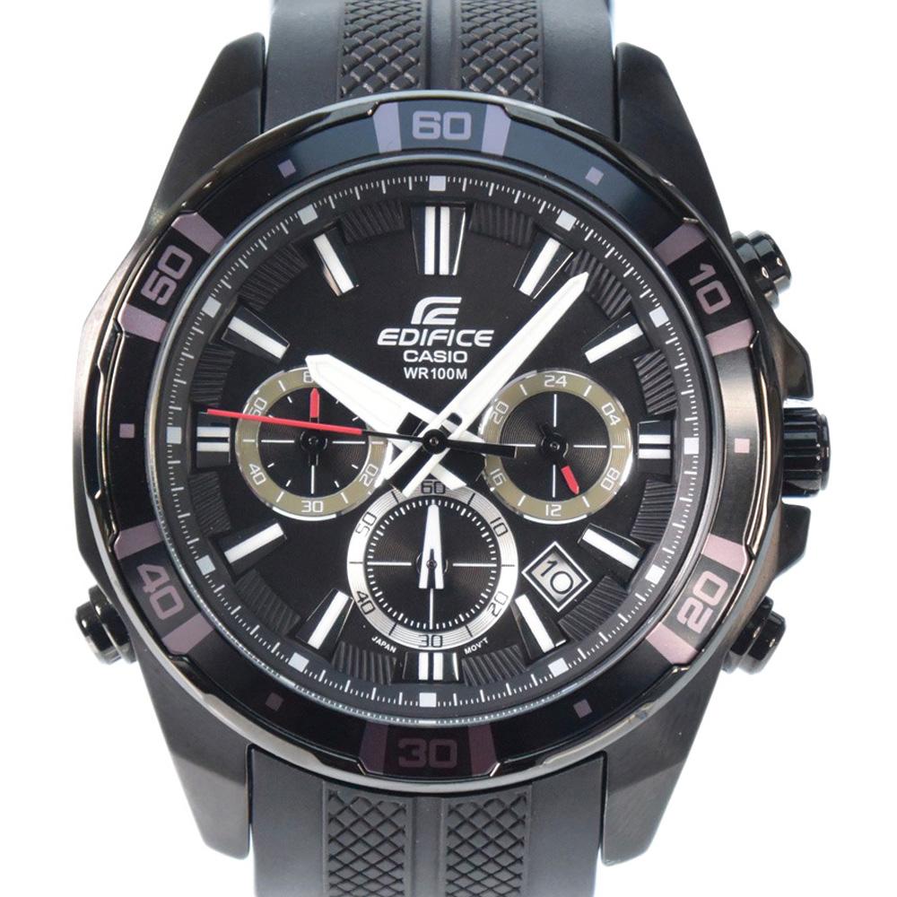 【CASIO】カシオ エディフィス EFR-534 ステンレススチール×ラバー ブラック クオーツ メンズ 腕時計【中古】Sランク