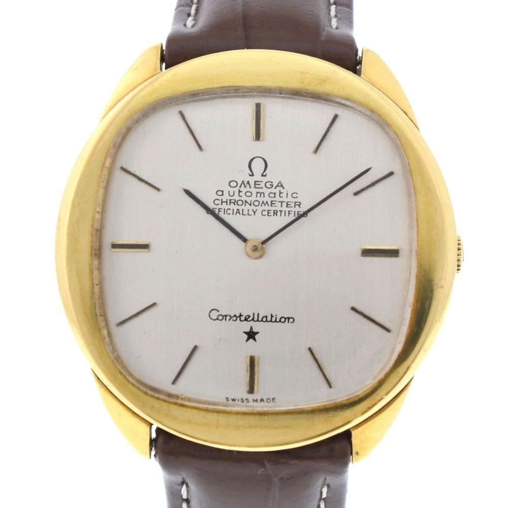 【OMEGA】オメガ コンステレーション cal.712 K18イエローゴールド×レザー ゴールド 手巻き メンズ シルバー文字盤 腕時計【中古】