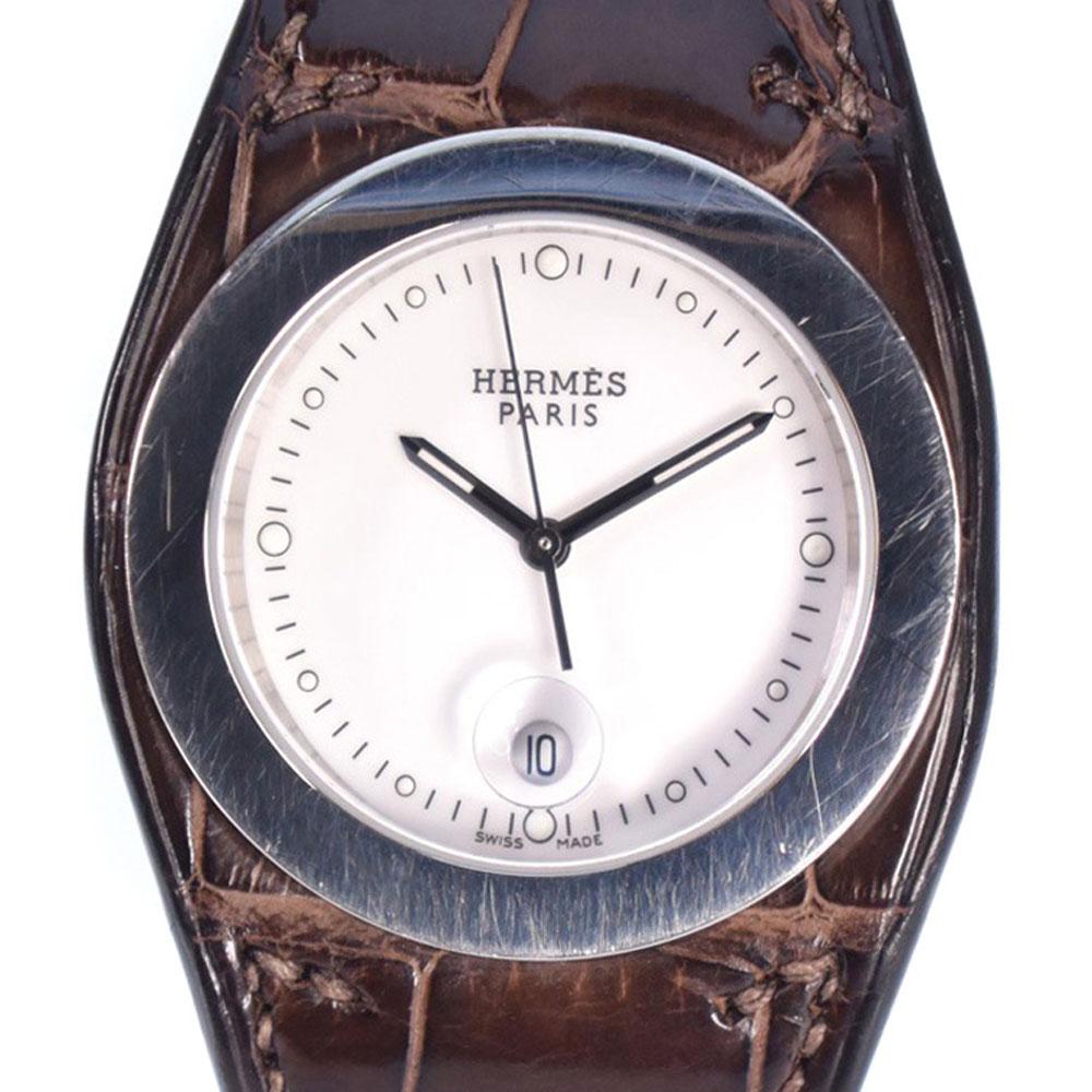 【HERMES】エルメス アーネ HA3.710 ステンレススチール×レザー シルバー クオーツ レディース 白文字盤 腕時計【中古】A-ランク