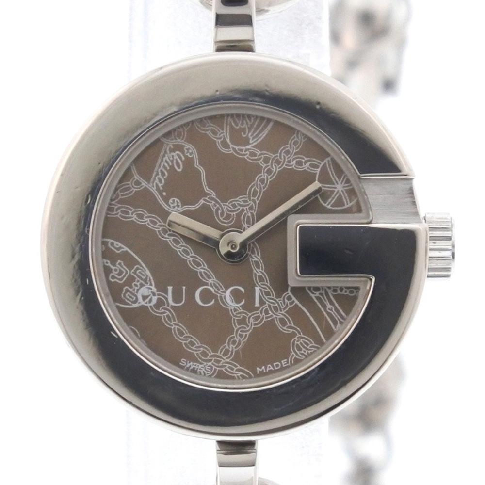 【GUCCI】グッチ Gチャーム ブレスレット チェーンベルト 107 ステンレススチール ブラウン クオーツ レディース 茶色文字盤 腕時計【中古】Aランク