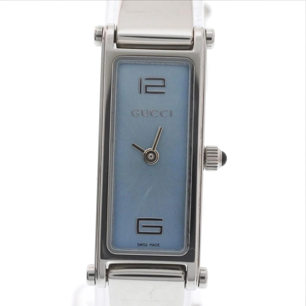 【GUCCI】グッチ 1500L ステンレススチール シルバー クオーツ レディース 水色文字盤 腕時計【中古】A-ランク