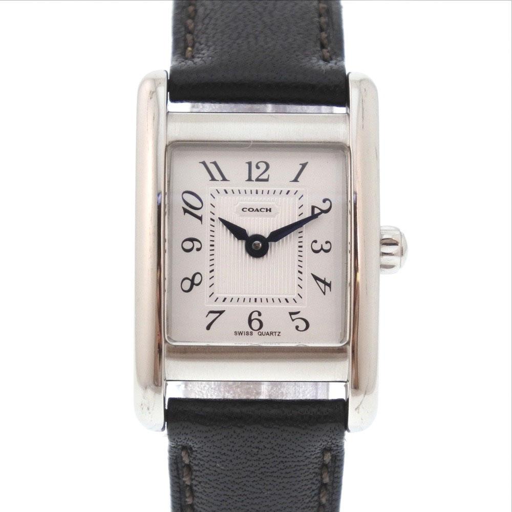 【COACH】コーチ W002B ステンレススチール×レザー ブラック クオーツ レディース シルバー文字盤 腕時計【中古】Aランク