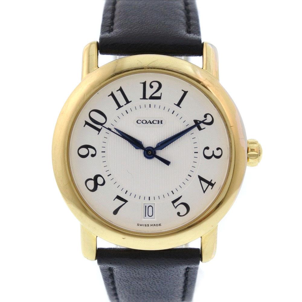 【COACH】コーチ W505 GP×レザー ゴールド クオーツ ユニセックス 白文字盤 腕時計【中古】