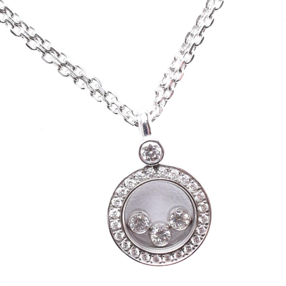 【Chopard】ショパール ハッピーダイヤモンド 3P K18ホワイトゴールド レディース ネックレス【中古】SAランク
